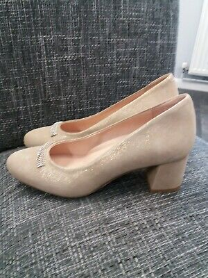 £15 • Buy Softwaves Gold Sparkly Leather Diamante Detail Court Shoes Size 41 WORN ONCE