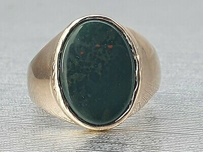 £275 • Buy Vintage & Heavy 9ct Gold Bloodstone Signet Ring- Excellent Condition -Large Size