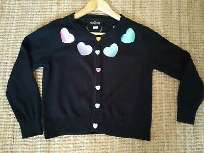 £34.99 • Buy Collectif Black Cropped Heart Cardigan 16 Rainbow Buttons Rockabilly Lindy Retro