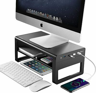 £39.98 • Buy Metal Computer Stand Riser For Desk With 4 USB 3.0 Ports, 2 Tiers For Office