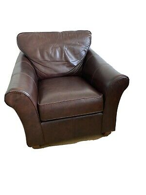 £145 • Buy Marks & Spencer Brown Leather Armchair Wooden Feet Removable Cushions
