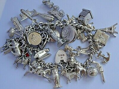 £182 • Buy Stunning Vintage Solid Silver Charm Bracelet & 36 Charms,rare,open.move.116.8g
