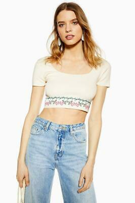 £9.98 • Buy Size 14 TOPSHOP Women's Cropped Vanilla Top / Tee, Embroidered