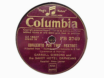 £3.99 • Buy CARROLL GIBBONS / SAVOY ORPHEANS - Concerto For Two / A Sinner 78 Rpm Disc