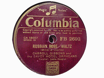 £3.99 • Buy CARROLL GIBBONS / SAVOY ORPHEANS - Russian Rose / Mister Brown 78 Rpm Disc