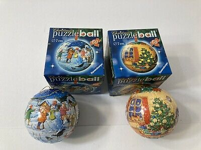 $15.99 • Buy Lot Of 2 Ravensburger Puzzle Ball Christmas Ornament Complete