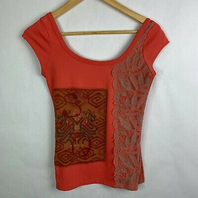 AU79.87 • Buy Save The Queen Italy Sleeveless Scoop Neck Shirt Mesh Back Lace Applique Small