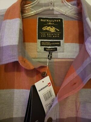 $14.95 • Buy *LOOK * Quiksilver Surf Mens XL Flannel Shirt Sunset Orange New W/Tag.  Cotton