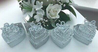 £8 • Buy 4 X Unusual Gorgeous White 3 Tier Wedding Cake Favours Favors Wire Box Bnwt Sale