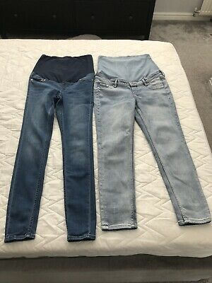 £7.99 • Buy 2 Pairs H&M Over The Bump Maternity Jeans, Size M (approx 10-12)