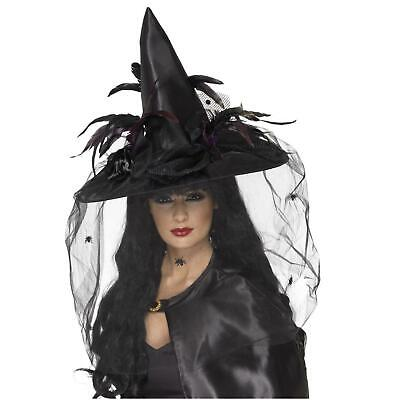 £11.50 • Buy Adult's Feather Veil Gothic Ladies Witches Hat Halloween Costume Accessory