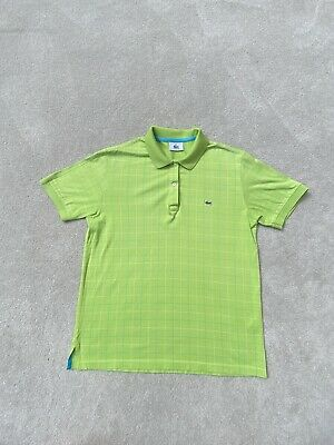 £15.95 • Buy Lacoste Polo Shirt Size XL Lime Green Blue Check Short Sleeve Collar Womens