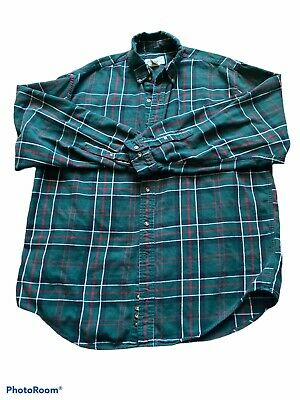 $13.10 • Buy Eddie Bauer Mens Green Plaid Long Sleeve Button Down Shirt Size Large Tall