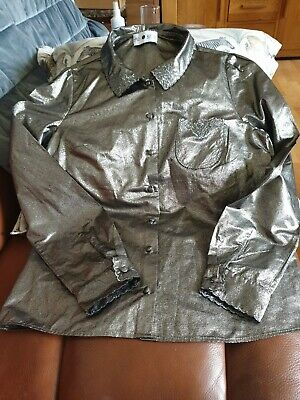 AU9.32 • Buy Alexa Chung For M&S Gold/Silver Lame Blouse Size 6 Neck Bow