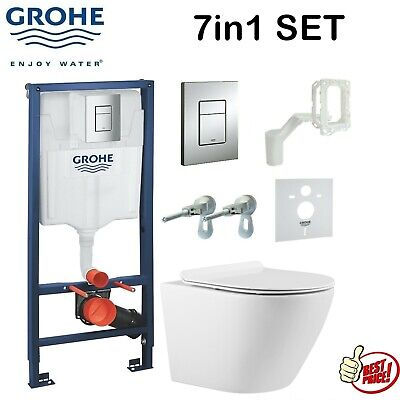 £154.99 • Buy GROHE FRESH CISTERN WC FRAME WITH COMPACT RIMLESS WALL HUNG TOILET PAN 7in1