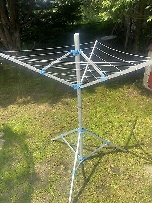 """£10.05 • Buy Heavy Rotary Clothes Airer Dryer Washing Line Free Stand Patio Camping """"Used"""""""