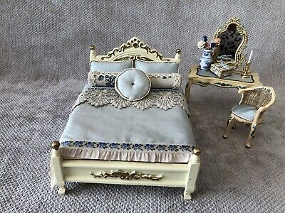 £60 • Buy Dolls House 1/12 Scale Fancy Blue And Cream Bed Plus Dressing Table And Stool.
