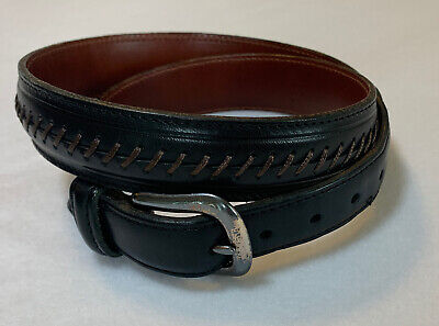 """$11 • Buy Mens COACH Belt Rope Wove Black Leather Silver Buckle 1.25"""" Wide Size US 32"""