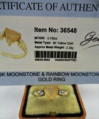 £10.50 • Buy A 9ct Gold Gems TV Peach Hued & Rainbow Natural Moonstone Lady's Ring.