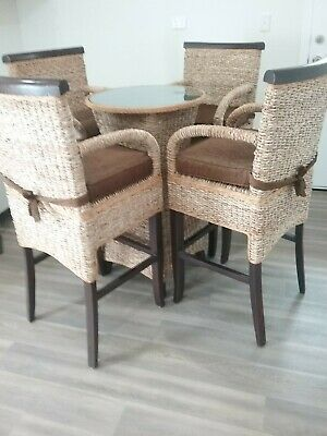 AU350 • Buy Wicker 4 Seater High Table Chairs VGC Bar Patio Dining Cushions And Glass Top