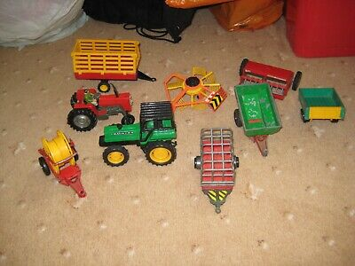 AU7.47 • Buy 9 Farm Implements Tractor,  Turner, Bailer And Trailers.