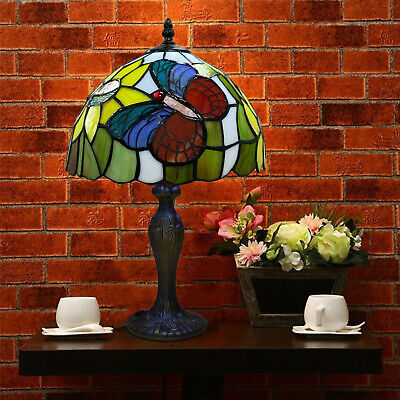 £64.14 • Buy New Tiffany Style Butterfly Design Beautiful Table Desk Lamp Stained Glass Shade