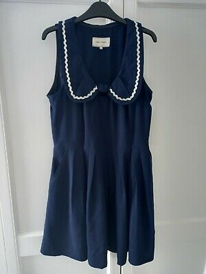 AU33.63 • Buy River Island Navy Peter Pan Collar Mini Dress Fit & Flare Pockets Size 12 14