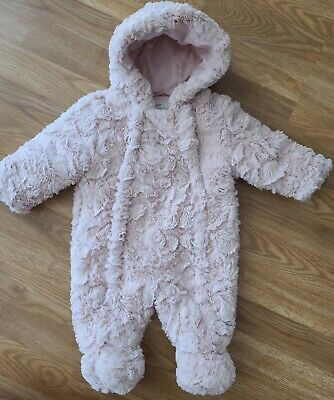 £2.90 • Buy Baby Girls Pramsuit 0-3 Months Pink Fluffy Hooded Snowsuit George