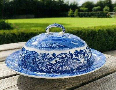 £49 • Buy Vintage Copeland Spode Italian Blue Muffin Or Pudding Dish With Lid