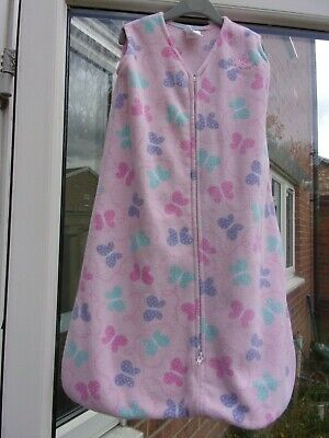 £1 • Buy Halo - Baby Sleep Sack - Pink With Butterfly Design - Fleece - Age 6-12 Months