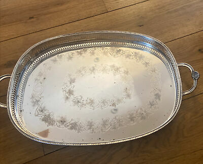£45 • Buy Cavalier Butlers Gallery 2 Handle Ivy Leaf Silver Plated Tray