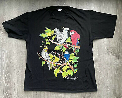$ CDN49.08 • Buy Vintage 80s Funky Double Sided Parrot Animal T-Shirt Black Size XL Nature