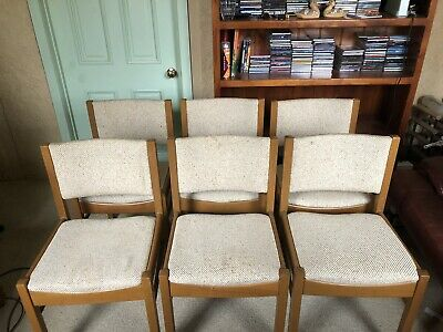 AU100 • Buy Set Of Six Vintage Mid Century Modern Dining Chairs Wood And Fabric Upholstered