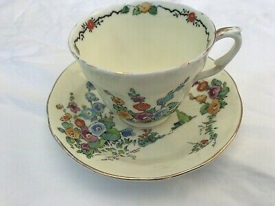 £10 • Buy Crown Staffordshire 'Hollyhocks' Tea Cup And Saucer