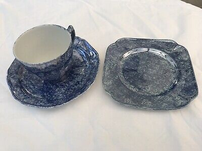 £7 • Buy Parrot & Company Coronet Ware Blue Lustre Cup, Saucer And Tea Plate Trio