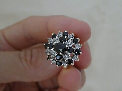 £80 • Buy Vintage 9CT Gold Sapphire & Diamond Cluster Ring Size P
