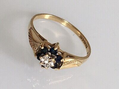 £48 • Buy 375 9ct Yellow Gold Diamond And Sapphire Ring - UK Size N  1.60 Grams Size O
