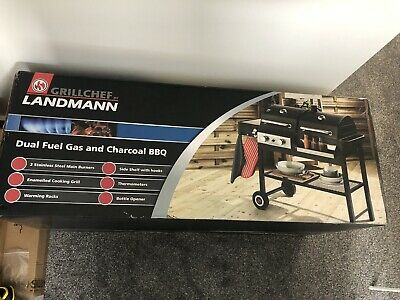 £245 • Buy LANDMANN Grill Chef Dual Fuel Gas And Charcoal BBQ + GRILLMAN BBQ Cover