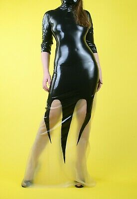£95 • Buy Unique Handmade Latex Rubber Long Black And Clear Dress - Sz 10/12