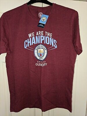 £4.99 • Buy Manchester City FC Men's We Are Champions T-Shirt 2018 - Size L - Maroon - BNWT