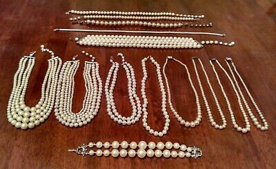 $ CDN12.58 • Buy Vintage Jewelry Lot Of 13 Pearl Necklaces And 1 Bracelet