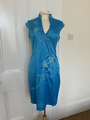 £8.99 • Buy Vintage 00s Y2k Jane Norman Turquoise Blue Satin Embroidered Dress Wuth Collar