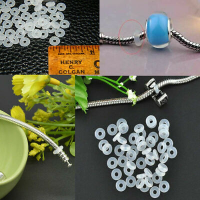 £2.30 • Buy 30pcs Silicone Rubber Rings Charm Stopper For Silver Bracelets Spacer Beads