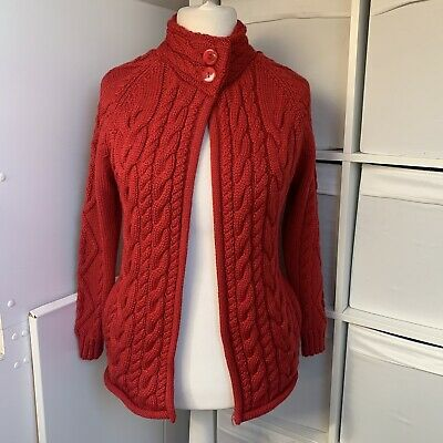 £29.99 • Buy Woolovers Bright Red Cardigan Size S Aran Style Cable Knit 100% British Wool
