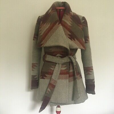£28 • Buy Forever21 Stylish Aztec Print Wrap Coat With Belt And Pockets, Very Versatile!