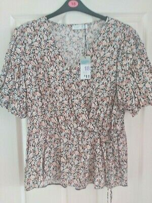 £4.09 • Buy Womens PRIMARK Wrap Front Floral Top With Side Tie Size 18. **BNWT**