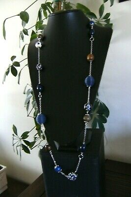£1.75 • Buy Superb Signed Oasis Very Long Silver Tone Blue & Wood Bead Necklace  - Vgc