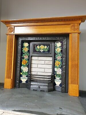 £395 • Buy 13 Cast Iron Fireplace Surround Fire Old Tiled Insert Antique Victorian Style