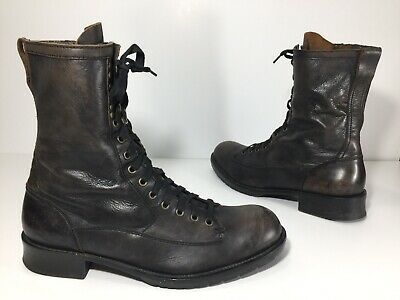 $95 • Buy John Varvatos Combat Boots Bowery Distressed Leather Side Zip Mens Size 12