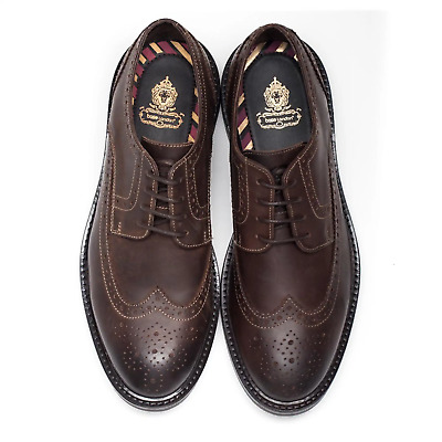 £24.98 • Buy Base London Mens Brown Leather Lace Brogues Formal Shoes New RRP £75 Size 5 6 7